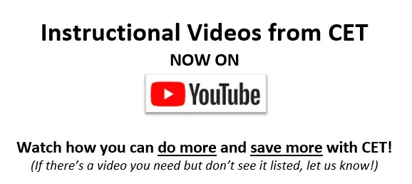 Check out CET instructional videos on YouTube!